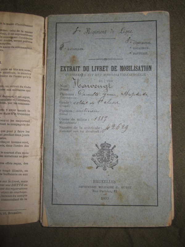 Livret militaire Belge de 1887