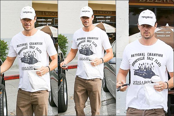 *30 / 05 / 13 - Josh Duhamel à été aperçut un café à la main se rendant à sa voiture à Belwood Backery.*
