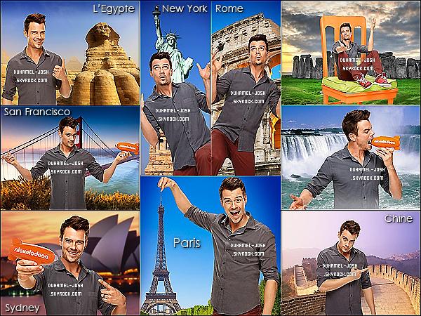 *Découvrez de toute nouvelle photos de Josh Duhamel pour Nickelodeon dans différents endroits  Voici de toutes nouvelles - fait avec photoshop - de Josh pour la campagne Nickelodeon où Josh se retrouve dans plusieurs pays/villes diffèrents. *