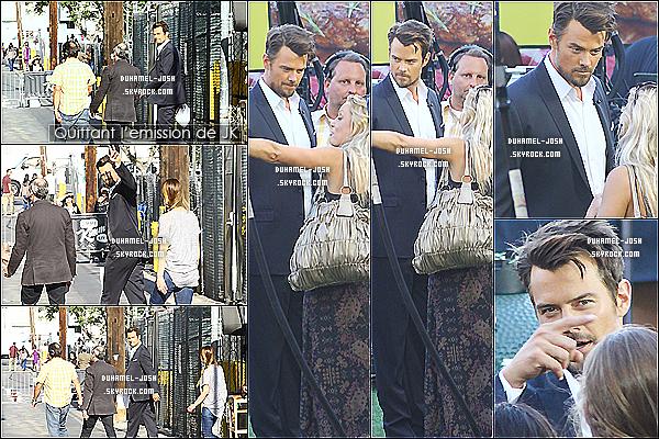 """*13/08/13: Josh Duhamel été l'invité de l'émission de Jimmy Kimmel pour la promo de son film """"Scenic Route"""".Josh à été vu allant filmer l'émission Jimmy Kimmel Show puis en sortant plus tard - dans une autre tenue - + Visionner les vidéos du show. *"""
