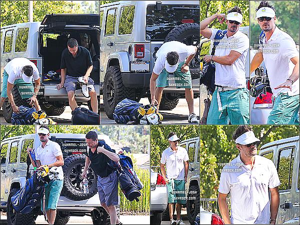 *08/10/13: Notre Josh Duhamel à été apperçut en allant jouer au glof avec un de ses amis dans Brentwood. Josh et un ami allant faire du golf + Josh a été vu - tout souriant - allant faire du sport + Photos personnelle posté sur les réseaux sociaux par J'.  *