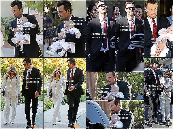 *12/12/13: Notre beau Josh Duhamel et sa femme Fergie au baptême de leur fils Axl Duhamel à Brentwood. Josh et Fergie ont étaient vu en allant au baptême de leur fils puis en ressortant avec Axl et leurs familles.Axl est chou en blanc & un Top pour J. *