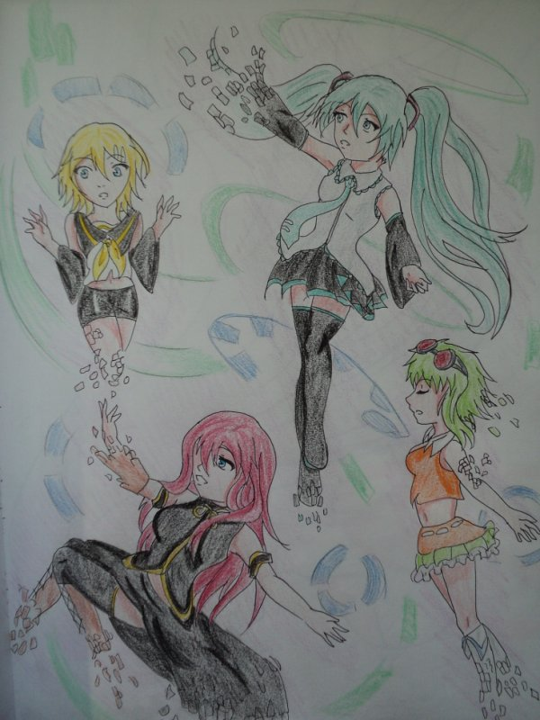 Dessin #27 Vocaloid ==> Miku,Luka,Rin,Gumi