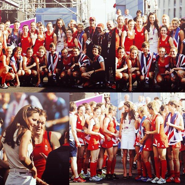 Le 9 août 2012, Kate s'est rendue à la compétition de boxe. Le 10 août 2012, Kate s'est rendue à la compétition de hockey féminin entre la Nouvelle-Zélande et la Grande-Bretagne au Riverbank Arena Hockey Centre à Londres. et après le match, elle a posée avec l'équipe de GB.