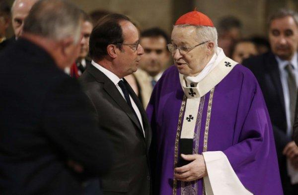Saint-Etienne-du-Rouvray : l'homélie très politique d'André Vingt-Trois devant Hollande et Sarkozy