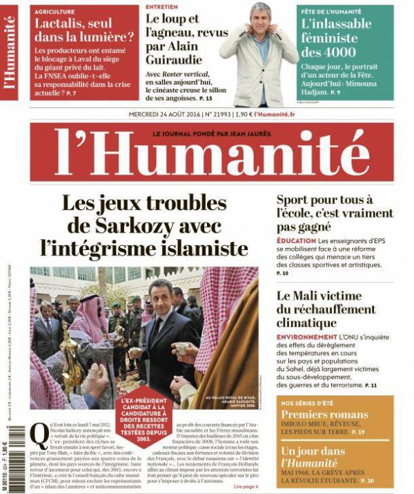 """L'Edito L'Huma du jour : """"Sarkozy sort du buisson"""""""
