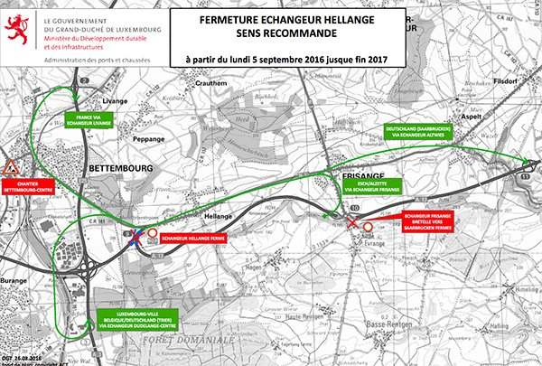 By-pass Hellange fermé : déviations pour plus d'un an