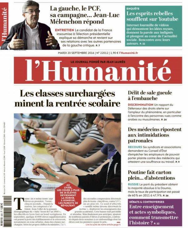 """L'Edito L'Huma du jour : """"La classe, c'est lutter"""""""