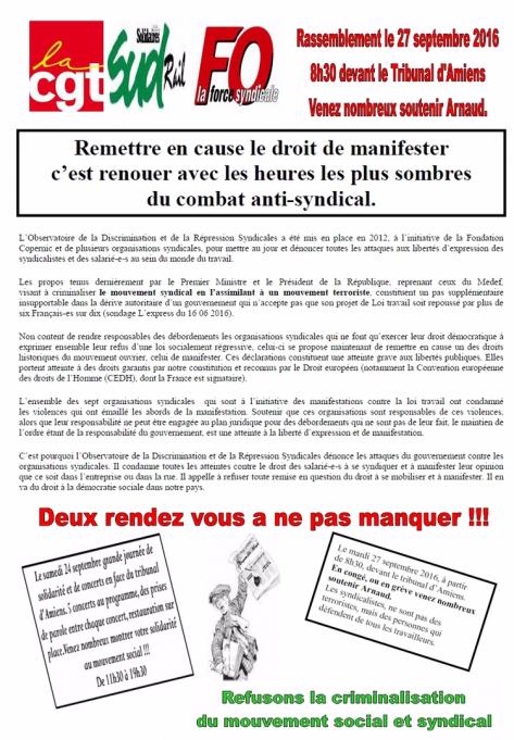 Amiens. Rassemblement de soutien pour les cinq militants incriminés dans la mobilisation contre la loi Travail