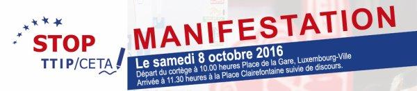 Stop TTIP/CETA manifestation 8 octobre Luxembourg Ville