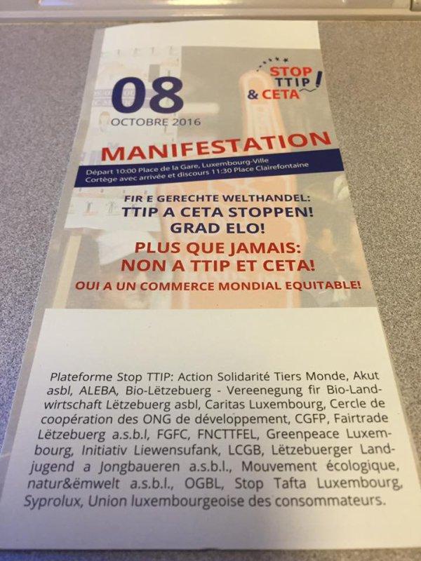Le CETA validé par le LSAP (Parti Socialiste Ouvrier Luxembourgeois), la rupture est entamée