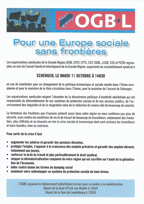 Manif syndicale grande région à Schengen