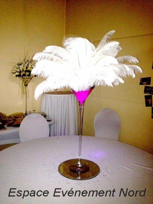 Centre de table lumineux avec plumes d 39 autruches for Centre de table lumineux