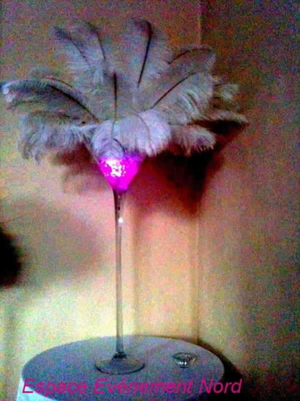 Centre de table lumineux avec plumes d'autruches