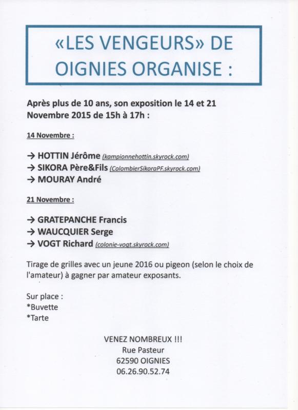 """La société """"Les Vengeurs"""" de Oignies organise"""