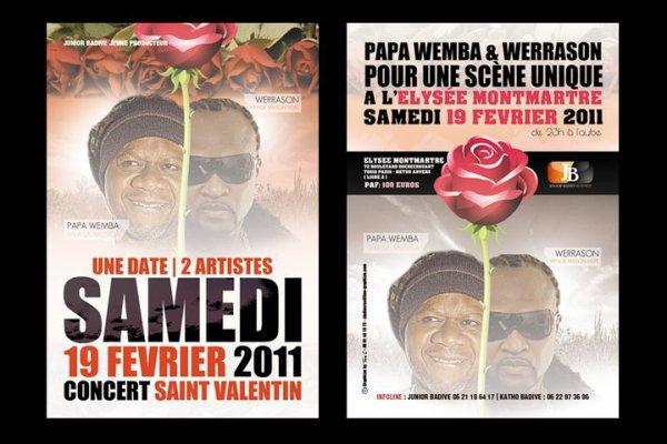 Saint Valentin 2011 : Badive invite les « Amoureux » à célébrer leur fête avec Werrason et Papa Wemba à l'Elysée Montmartre le 19 février prochain