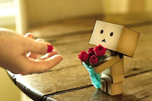 Danbo offre des fleurs
