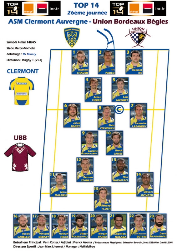 Clermont - Bordeaux le 04 mai