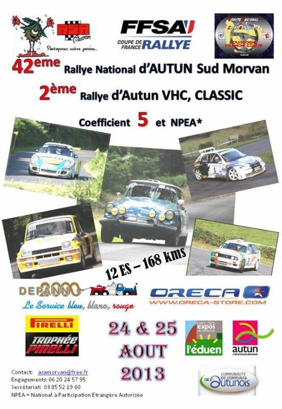 Liste des engagés du rallye Autun Sud Morvan