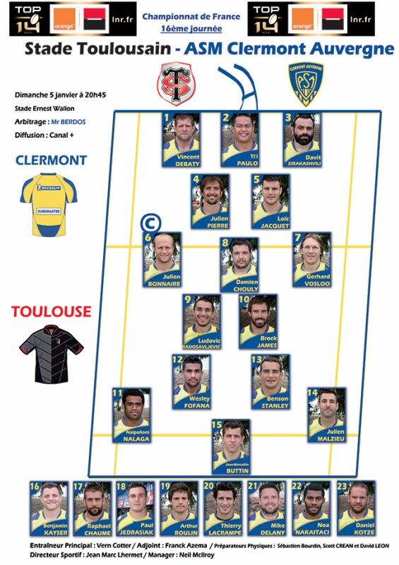 Toulouse - Clermont 05 janvier 2014