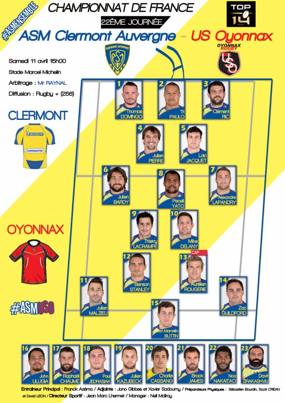 ASM - Oyonnax 11 avril 2015