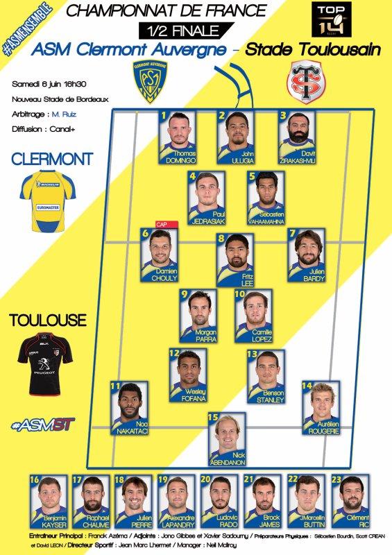 ASM - Toulouse demie-finale du Top 14 à Bordeaux le 6 juin 2015