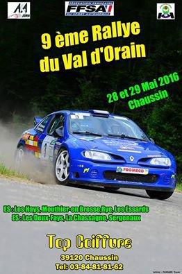 liste des engagés du rallye du Val d'Orain 2016