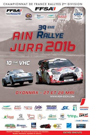 liste des engagés du rallye Ain-Jura 2016