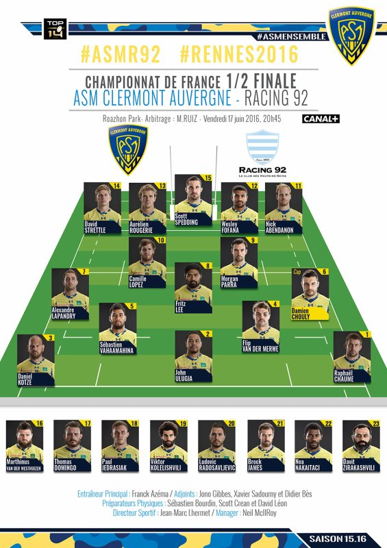 1/2 finale du Top 14 vendredi 17 juin à Rennes CLERMONT / RACING 92