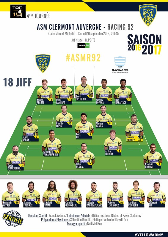 Clermont / Racing 92 10 septembre 2016