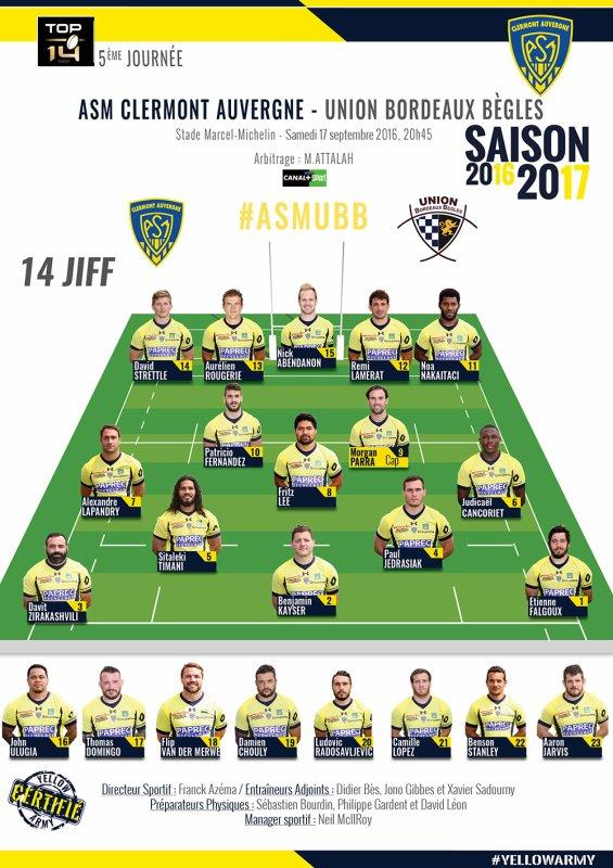 Clermont / Bordeaux 17 septembre 2016
