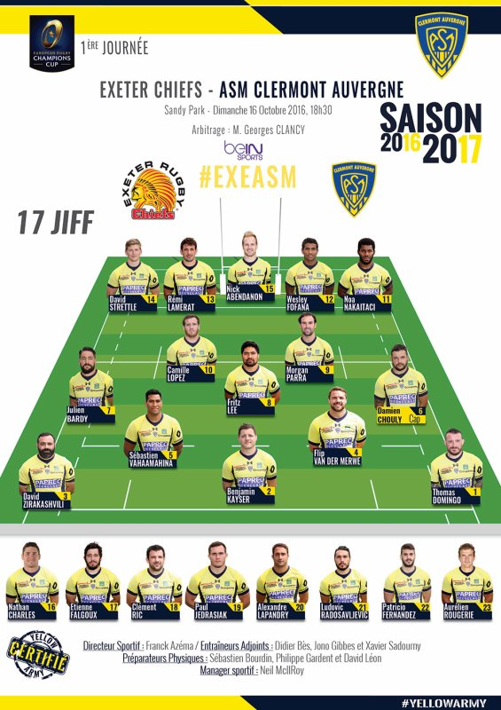 Exeter Chiefs - Clermont 16 octobre 2016