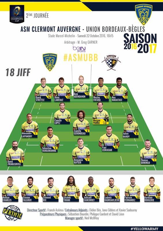 Champions Cup Clermont - Bordeaux 22 octobre 2016
