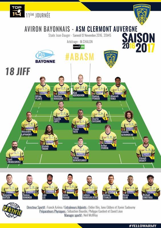 Bayonne - Clermont 12 novembre 2016
