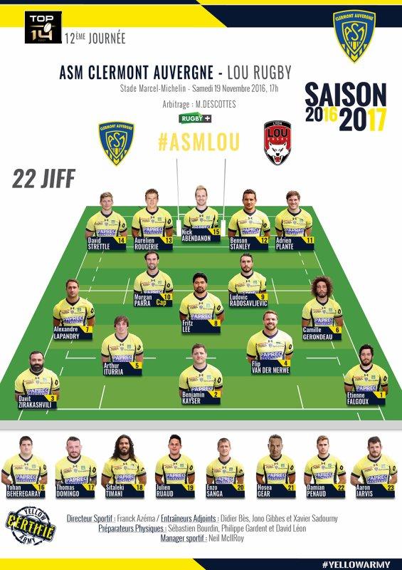 Clermont - Lyon 19 novembre 2016