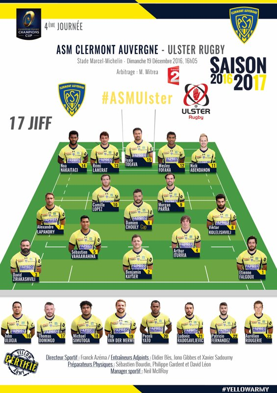 Champions'cup Clermont - Ulster 18 décembre 2016