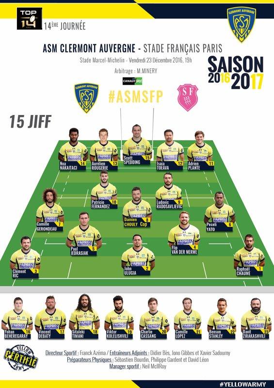 Clermont - Stade Français 23 décembre 2016