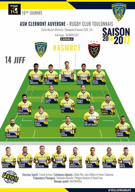 Clermont - Toulon 8 janvier 2017