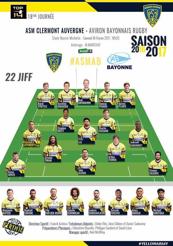 Clermont - Bayonne 18 février 2017