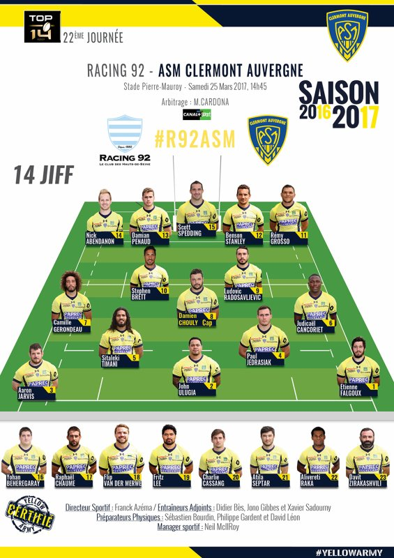 Racing 92 - Clermont 25 mars 2017