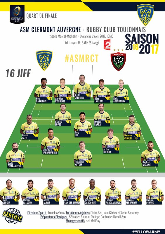 Clermont - Toulon 1/4 finale Champions Cup 2 avril 2017