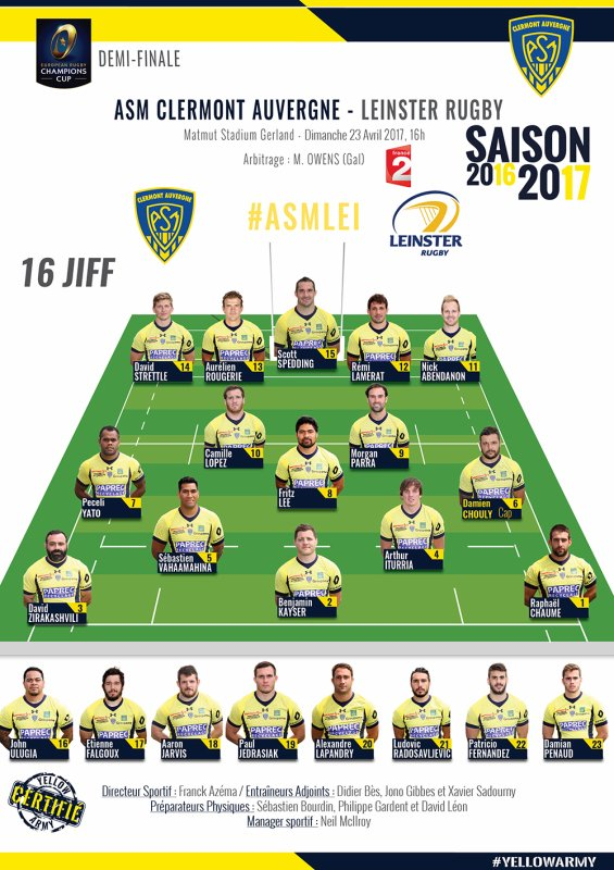 1/2 finale Champions'Cup Clermont - Leinster le 23 avril 2017