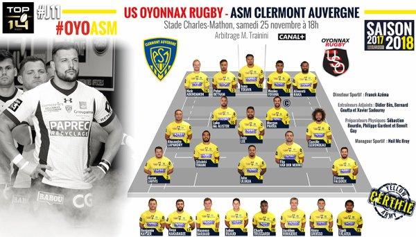 Oyonnax - Clermont 25 novembre 2017