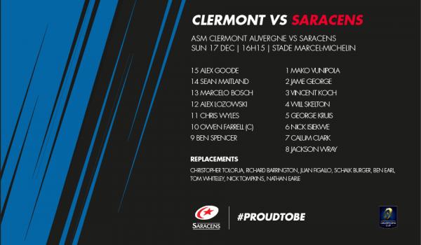 Clermont - Saracens 17 décembre 2017