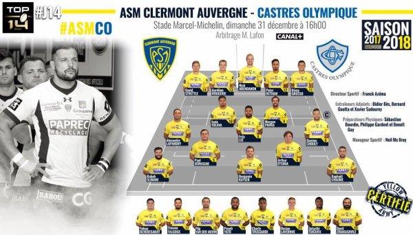 Clermont - Castres 31 décembre 2017
