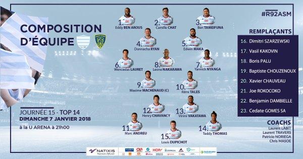 Racing 92 - Clermont 7 janvier 2018