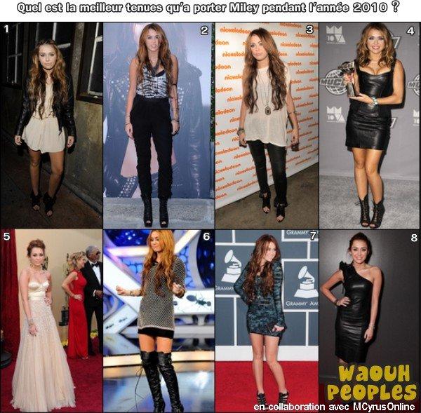 Rubrique : ZOOM LOOK !  People : Miley Cyrus    Petit ZOOM sur les différentes tenues de Miley lors de plusieurs Events 2010.  Bon Miley sur quelques tenues, tu pouvais bien mieux faire pour un évent :) Mais tu es quand même très belle surtout en robe noir ...