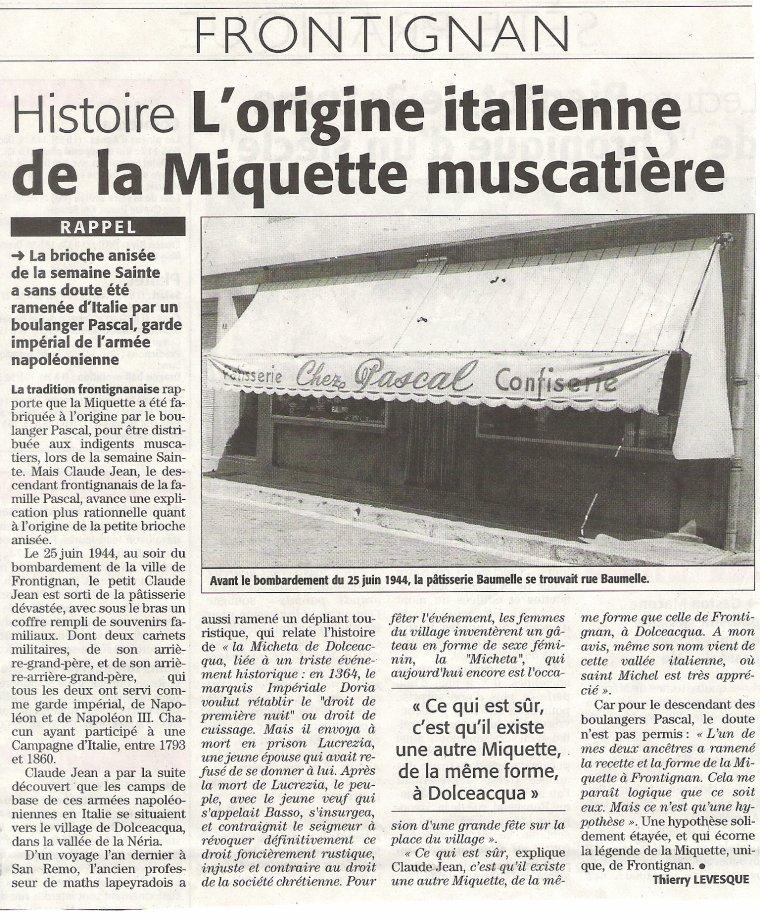 """Le Secret de la """"Miquette frontignanise """"..."""