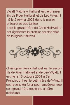 ____# article 109__________::_Les deux frères sur Piper-Halliwell4_::__________Piper-Halliwell4 __ __|_création_|_décoration_|_newsletter_|_sommaire__|___ << Wyatt ou Chris ? >>__:__Bonne Visite_m