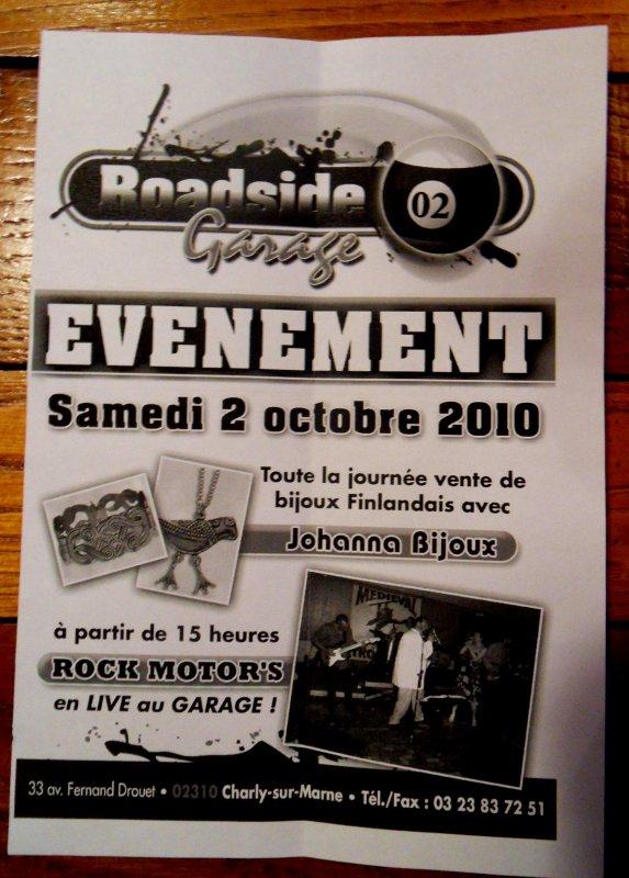 Evénement Samedi 2 Octobre Roadside GARAGE (02310)